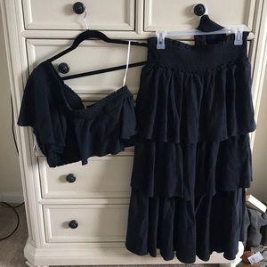 Free People Ruffle Skirt & One Shoulder Top Set LG